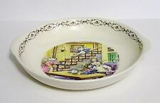 Collectible Designed by KOREA Serving Soup Bowl w/ Signed Rabbit Family Scene