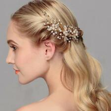 2pc Leaf Crystal Pearl Wedding Party Bridal Prom Hair Pin Clips Grips Gold