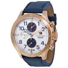 Tommy Hilfiger Multi-Function White Dial Blue Leather Mens Watch 1791139