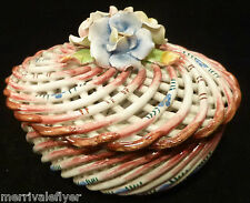 Vintage Woven Porcelain TRINKET BOX Basket Twig Flower Basket ROSES Spain artist