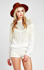 NEW NWT $121 WILDFOX COUTURE WHITE/IVORY FRINGE TAWNY TOP SHIRT RARE FITS M & L