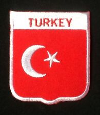 TURKEY TURKISH NATIONAL COUNTRY FLAG BADGE IRON SEW ON PATCH CREST SHIELD