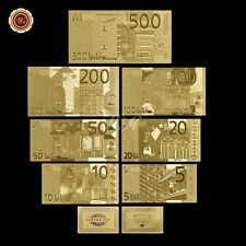 WR Note Europe €5 - €500 Euro Banknote Set 7pcs 24k Gold Plated Note Certificate