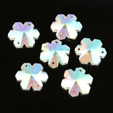Crystal AB Glass Flatback Faceted Flower Sew On Rhinestone Loose Beads 18 Pcs