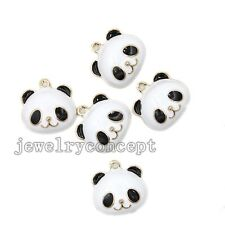 10x Black&White Enamel Gold Plated Alloy Panda Head Pendant Charms Handcrafts J
