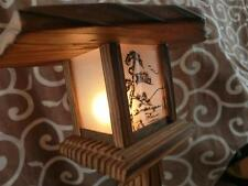 Japanese Antique Wooden Night Light Stand Wagara Japan Wabi-Sabi Wafu Vintage
