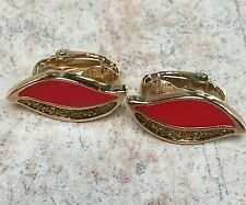 Vintage Retro Red Enamel GT Clip On Earrings Prom Party