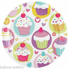 8 Colourful Cupcakes Birthday Party 23cm Disposable Paper Plates