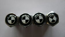 4 X White/Black BMW - Chrome Metal Car Tyre Tire wheel Valve Stems Caps