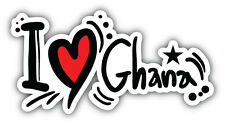 I Love Ghana Slogan Car Bumper Sticker Decal 6'' x 3''