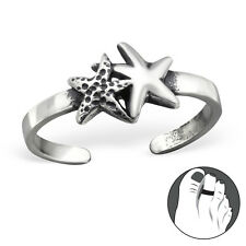 925 Sterling Silver Toe Ring Double Starfish Adjustable Jewellery Oxidised Star