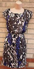 RARE BROWN CREAM PURPLE LEOPARD ANIMAL SKATER A LINE SUMMER TEA DRESS 10 S