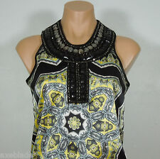 LE CHATEAU Beads Embellished Printed Halter Blouse size XS