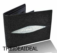 100% BLACK GENUINE STINGRAY SKIN LEATHER CREDIT CARD & COIN WALLET AAA+++ NEW**