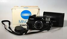 HI-MATIC AFZ MINOLTA,IN BOX,W/ 38MM F 2.8 LENS,LEATHER CASE,LENS CAP AND MANUAL.