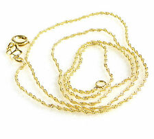 Women Girl New Chain Necklace 14K Yellow Gold Plated Sparkle Twist 45cm 1mm Thin