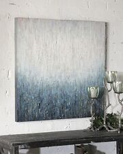 Abstract Rain Water Oil Painting | Modern Blue Textured Wall Art