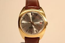"""VINTAGE NICE CLASSIC GOLD PLATED SWISS MEN'S HAND WIND UP WATCH""""VIALUX"""" 17 J."""