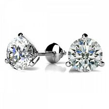 1.50CT Round Solid 18K White Gold Brilliant Cut Martini ScrewBack Stud Earrings