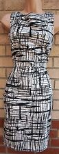 FLORENCE AND FRED WHITE BLACK ABSTRACT CHECKED TARTAN BODYCON PENCIL DRESS 12 M