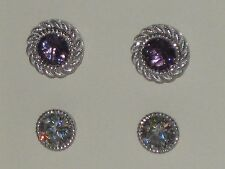 Judith Ripka Amethyst Sterling 2 Sets of Stud Earrings with Jacket Set New n Box