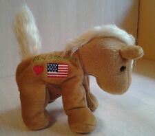 Brown and white horse pony white mane tail Girl Scouts Heart and flag 6.5""