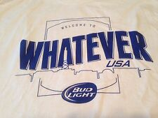 Budweiser Welcome To Whatever USA Bud Light T Shirt Tee White Navy Cotton XL