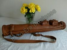 New Tan Leather Tube Golf Club  Carrying Bag with 2 pockets & carrying belt