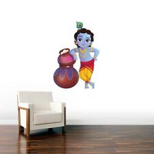 Wall Stickers Decals Decor Makkan chore Krishna Kids Bed Living room God birthda