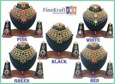 WHOLESALE LOT OF 5 GOLD PLATED HANDMADE KUNDAN BOLLYWOOD JEWELRY NECKLACE SET