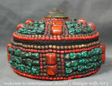 "8"" Old Tibet Buddhism Turquoise Red Coral pearl Gem Bead Round Jewel Jewelry Box"