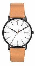 Skagen SKW6352 Men's Signatur Black IP Tan Leather Band 3-Hand White Dial Watch