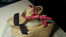 Marc by Marc Jacobs Canvas/LEATHER  Paintball Wedges Sandals Shoes Size 8 1/2