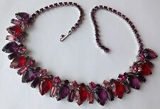 VINTAGE JULIANA RED PURPLE AND PINK RHINESTONE NECKLACE