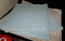 CROCHETED AFGHAN LAP ROBE THROW TODDLER BLANKET WRAP COVER BLUE COLOR YARN KNIT