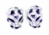 Goth punk biker style silver and black crystal leopard / tiger stud earrings