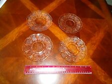 LOT Four Jeanette Glass Cherry Blossom Pretty Pink Coffee Cup Saucers Set Of 4