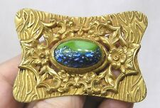 Vintage Jewelry 1930s Goldtone Brooch Art Glass Cabachon Embossed Flowers