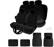 FOR TOYOTA SEMI CUSTOM BLACK VELOUR CAR SEAT STEERING WHEEL COVER MAT FULL SET