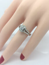 Ladies 14K White Gold Round Diamond Engagement Halo Ring .59 Carat SI-H $3,040