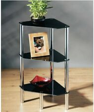 3 TIER BLACK GLASS SHELF WITH CHROME FRAME CORNER STAND END SIDE UNIT TABLE 1191