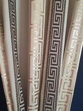 Gardinenstoffe  Meterware Stoff  Mäander Versace Muster Creme mit Braun / Gold