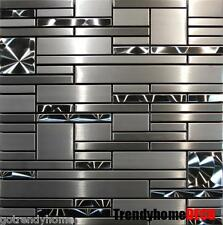 1 SF- Stainless Steel Metal pattern Mosaic Tile Kitchen Backsplash Wall Sink Spa