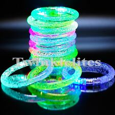 12 LED Rave Bracelets Party Favors Glow In The Dark Flashing Plastic Bands Lot