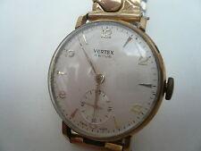 Vintage 9ct Gents Vertex Revue 17 Jewel Gents Manual Wind Wristwatch From 1961
