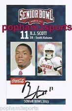 B.J. SCOTT Signed/Autographed 2013 SENIOR BOWL CARD South Alabama USA bj w/COA