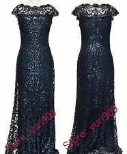 Tadashi Shoji Navy Sequin Lace Off Shoulder Cap Sleeve  Formal Gown Size 14 $508