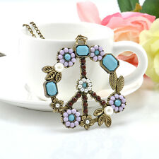 Hot Vintage Peace Sign Pendant Long Necklace Womens Crystal Flower Pearl Choker