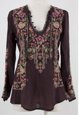 NWT $220 Johnny Was Fabio Embroidered BOHO Blouse Tunic S Top