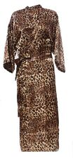 (810508)Animal Print Ladies Long Silk Satin Feel Kimono Robe Gown 12-18 UK